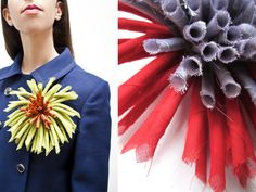 rolled-fabric flowers from StudioCinqueEAlto,an Italian sewing blog
