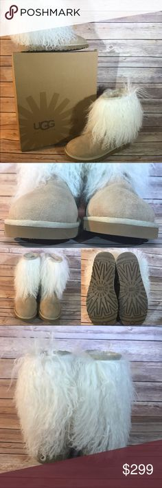 UGG Australia Mongolian Sheepskin Cuff Boots • AUTHENTIC! • LIKE NEW CONDITION! • NO Visible Scuffing • Sz-7 • Includes Box • Fur is in GREAT condition! • Color- Sand • Short  Please review all photos to know exactly what you are purchasing. If I forgot anything, just tag me and ask! 💋  No 🅿️🅿️ No Ⓜ️ No 🚫 UGG Shoes Winter & Rain Boots