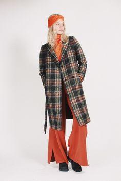 Fancy check wool tartan coat - Olivine by MAUD Check Coat, Tartan, Duster Coat, Fancy, Coats, Wool, Jackets, Shopping, Fashion