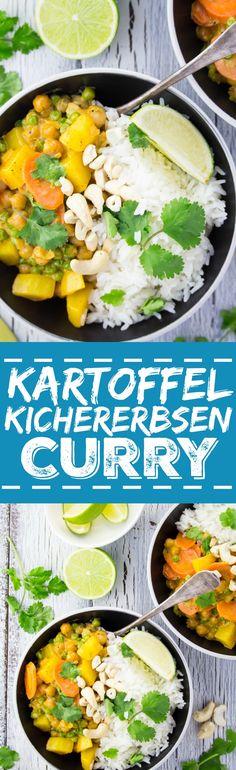 Kartoffel Kichererbsen Curry mit Basmati Reis. Einfach, lecker und vegan.