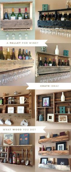 Natural Reclaimed Pallet Shelves | Wine Rack & Barware #diy #idea