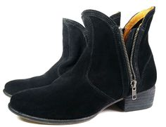 FREE PEOPLE ANKLE BOOTS 8 Matisse Black Suede Double Zip Boots *PRIMO*  Size 8 #Matisse #AnkleBoots