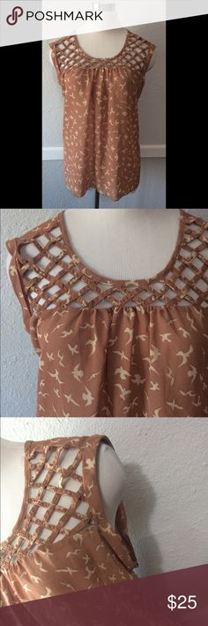 Adorable Woven Bird Cage Tank XL Sparrow Cute So cute! I do see an issue with one of the Woven pieces. I do not see but it looks like an easy fix. It isn't apart but looks like it could. XL juniors Rue 21 Tops Tank Tops