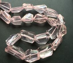 Rose Quartz Beads Faceted Tumble Beads Step Cut by gemsforjewels