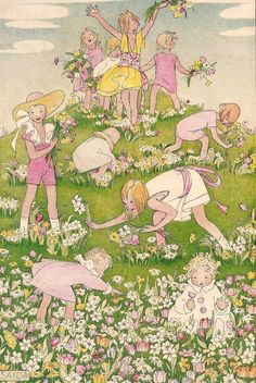 1923 Fab Soap Ad ~ artwork by Henriette Willebeek Le Mair (aka Saida). -- gay spring flower frocks are kept soft and colorful when mother washes them with Fab tiny soap flakes made of cocoanut oil