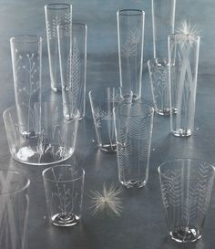 Roost Etched Botanical Glassware, Set/6 -15% off Sale on Mini Tealights Only!