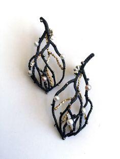 Winter Night Earrings, 14k gold filled, sterling silver, freshwater pearls, 2014