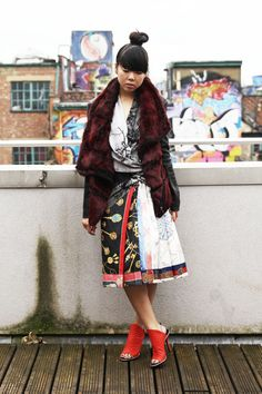 Susie Bubble wearing our Fall 12 Flux Fur Jacket and Tree Collage Top. #streetstyle