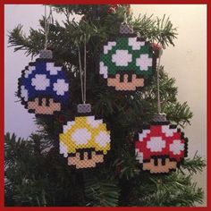 Perler Bead Super Mario Christmas Ornaments!