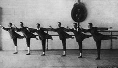 Boys of the advanced class learning ballet-dancing in the Imperial School in St Petersburg in 1913. (Photo by Hulton Archive/Getty Images