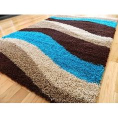 BROWN BLUE TEAL BEIGE THICK SHAGGY RUG 5CM NON SHED SHAG PILE SMALL LARGE  RUNNERS RUGS
