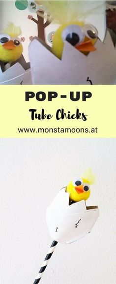 Pop-Up Küken, Küken basteln, Überraschungsei, Monstamoons, easter crafts, Basteln für Ostern, pop-up chick, chick crafts, pop-up crafts