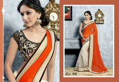Orange Georgette Pallu on a White Net Saree with Black Embroidered Blouse #desistyle # indianfashion # sareesonline