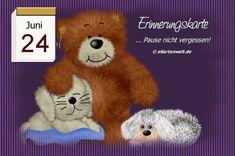 June 24, Juni, Teddy Bear, Animals, Day Of Year Calendar, February, Memories, Good Morning, Cards