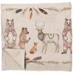 <p>Elk, bear, baby bear, and fox come together to share and celebrate! Wheat and mixed feathers border the edges to decorate with warmth, collective spirit and abundance. Add our corresponding Homecoming and Pinecone Bison dinner napkins for a fall feast.</p>