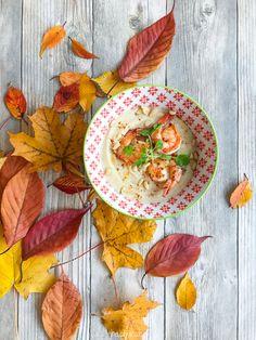 white vegetables soup garlic shrimps autumn recipes