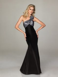 Trumpet Mermaid One Shoulder Beading Sleeveless Sweep Brush Train Satin Taffeta Prom Dresses
