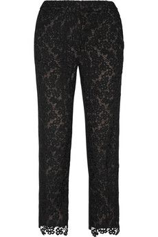 Erdem Gianna embroidered lace and silk-blend crepe tapered pants | NET-A-PORTER