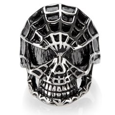 West Coast Jewelry Crucible Men's Stainless Steel Spider Web Skull Ring - 28mm Wide