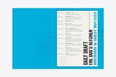 Draft menu for Brewdog designed by O Street, United Kingdom