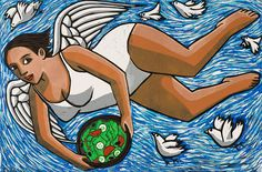 Angel Bringing a Salad, limited edition linocut print, image 400x600mm, by Anita Klein. http://www.castorandpollux.co.uk/angel-bringing-a-salad-limited-edition-linocut-print-image-400x600mm-by-anita-klein/dp/12629