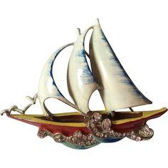 Frank Gargano amazing sailing boat pin brooch