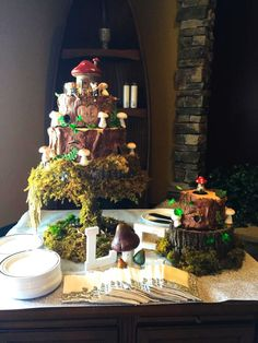 An enchanted forest wedding cake.                                                                                                                                                     More