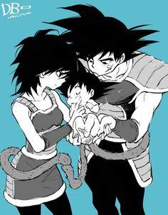 Bardock, Gine, and their newborn baby, Kakarotto