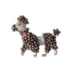 Van Cleef & Arpels Colored Pearl and Diamond Poodle Brooch