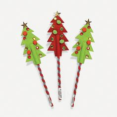 Holiday Tree Pencil Toppers - OrientalTrading.com