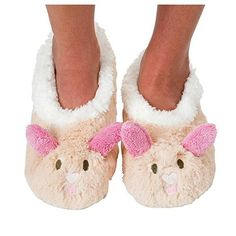 882041d4476 Snoozies Womens Animal Heads Sherpa Plush Fleece Lined Slipper Socks Bunny  Large -- To view further for this item