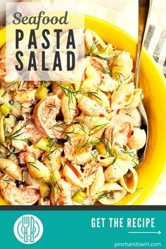 An easy recipe for the best, cold Seafood Pasta salad with crab and shrimp and crunchy celery in a creamy dressing! With capers, fresh dill, real lump crab meat, and shrimp cooked in a flavorful blend of salt (or Old Bay Seasoning) and fresh lemon.