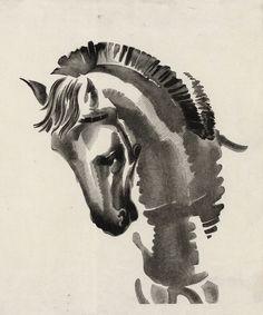 Yiannis Kefallinos (Greek, The Horse, N& Watercolor on paper, 23 x 17 cm Making Charcoal, Art Articles, Collagraph, Scratchboard, Wood Engraving, Conceptual Art, Printmaking, Design Art, Greek