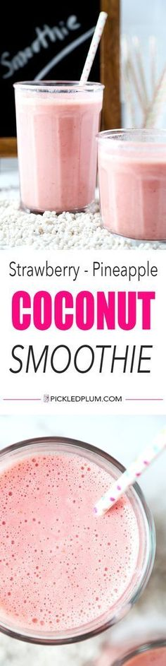Strawberry Pineapple Coconut Smoothie - A morning pick me up with only three ingredients needed! This strawberry pineapple coconut smoothie is bright, refreshing and contains enough vitamin C to meet your daily RDA! Recipe, drink, smoothie, healthy, fruits