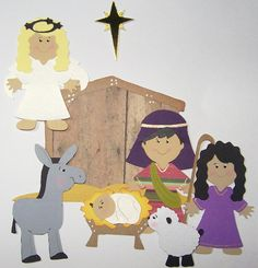 Die Cut Christmas Nativity Set  5.5  Cards DIY by Paperquick