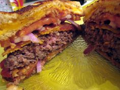 The Bacon Burger Grilled Cheese Melt. This is a bacon cheeseburger, with bacon-grilled-cheese sandwiches replacing the buns..    Great Tasting Hamburger Recipes at http://hamburgerrecipes.healthandfitnessjournals.com