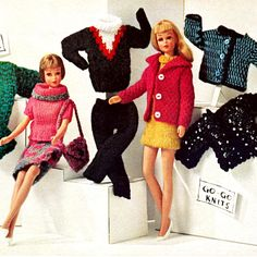 Vintage Knitting Pattern 1960s Mod Barbie Outfits Dress Coat Ski Sweater Pants Digital Download PDF