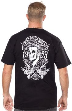 KING KEROSIN ROCKABILLY RULES T SHIRT There are no rules to a rockabilly life! Just fight hard. This black cotton t-shirt features a greaser ghoul and crossed switchblade knives screened on the back and a small King Kerosin logo on the front chest. $25.00 #kingkerosin #guys #rockabilly #greaser