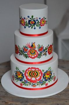 Hand Painted Folklore cake - cake by Jana Josefíková Wedding Cake Designs, Wedding Cake Toppers, Wedding Cakes With Flowers, Flower Cakes, Fiesta Cake, Quinceanera Cakes, Painted Cakes, Dream Cake, Novelty Cakes