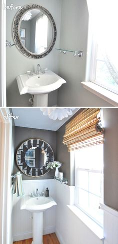 Bring drama to a small bathroom by contrasting a dark, moody color like our 'Bronzed Ivy' with bright white beadboard. Via @Centsational Girl for MyColortopia.com