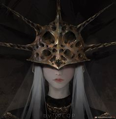 Safebooru - androgynous artist name closed mouth covered eyes dark souls dark sun gwyndolin facing viewer grey background helmet highres long hair male focus patreon username pink lips portrait solo souls (from software) spikes white hair wlop Character Inspiration, Character Art, Character Design, Character Ideas, Character Concept, Anime Meme, Dark Fantasy, Fantasy Art, Dark Souls Art