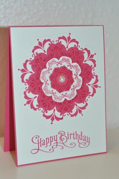 Stampin' Up! ... handmade birthday card .... Daydream medallions and floral framelits ... monochromatic rosy red ... like the pattern created in the layers by using the same color ink  throughout but one layer with tone one tone stamping  ... pretty card!