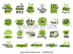 Vector eco organic bio logos, labels. Vegan, healthy food signs. Raw, vegetarian food badges, stamps and stickers. Organic tags and elements set for cafe,restaurants, products packaging.