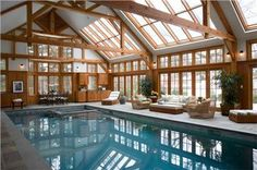 Relaxing Contemporary Outdoors by Tony Cappoli     Yes, I would love to have an indoor pool, with solar collectors on the roof, slid idling glass doors to open it up during them summer and radiant heat in the concrete floor
