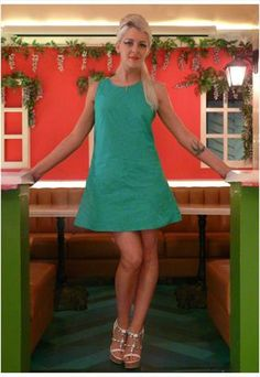 Alexa Geometric Green/Blue A-line 60's cotton dress