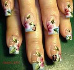 flower nail, very delicate Cute Nails, Pretty Nails, Simple Flower Design, La Nails, 4th Of July Nails, Nails Only, Flower Nail Art, Nail Treatment, Fabulous Nails