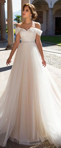 Glamorous Tulle Off-the-shoulder Neckline A-line Wedding Dress With Beaded Lace Appliques