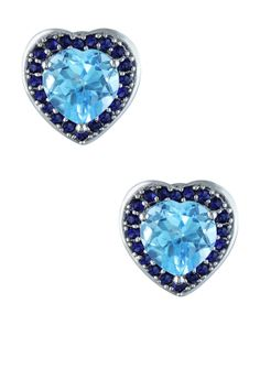 Sterling Silver Sky Blue Topaz & Created Blue Sapphire Heart Earrings