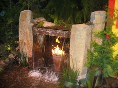 Fire Falls Fire bowls can be installed between two waterfalls for a Las Vegas type effect. Water can also pour in the middle of a fire ring.