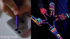 Cool DIY Ideas for Your iPhone iPad Tablets & Phones | Fun Projects for Chargers, Cases and Headphones | Make A DIY Black Light For Your Phone With The Magic Of Sharpies And Scotch Tape | http://diyprojectsforteens.com/diy-projects-iphone-ipad-phone/